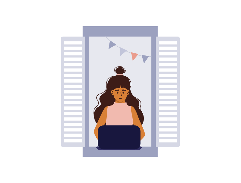 An illustration of a blogger sat in a window