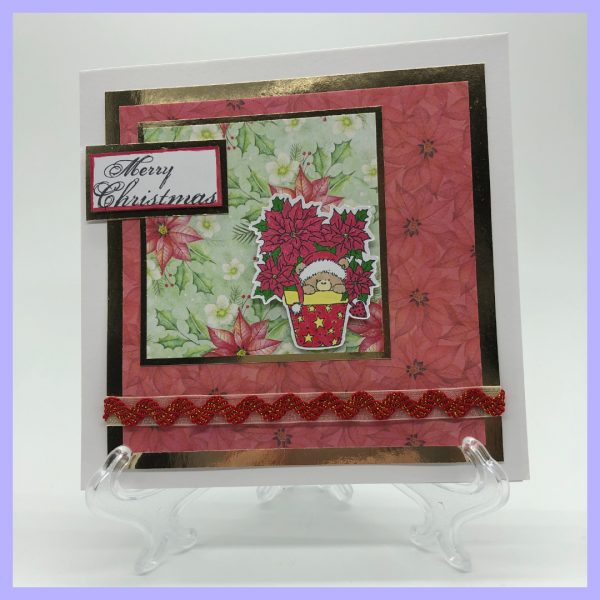 Poinsettia bear handcrafted Christmas card front